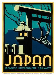 Japanese Government Railways - Night Twilight Shrine Cherry Blossom Julisteet tekijänä Pieter Irwin Brown AllPosters.fi-sivustossa