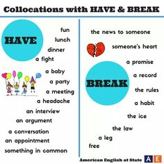 "hellolearnenglishwithantriparto: "" English collocations with HAVE & BREAK "" English Tips, English Fun, English Writing, English Study, English Lessons, American English, English Verbs, Learn English Grammar, English Language Learning"