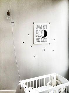 Poster en sterren muurstickers, leuk voor neutraal kamertje - En las nubes