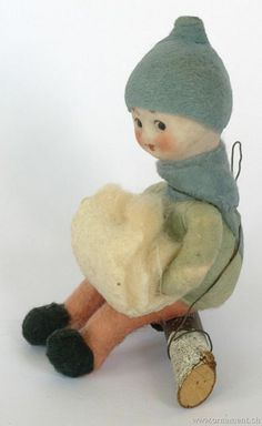 Vintage cotton ornament - Heubach Googly-Eyed Child with Snowball / cotton, porcelain, wood / US $475.00