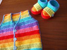 Rainbow Booties & Vest...Happy!