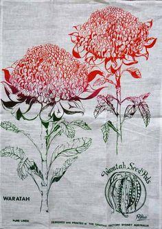 Waratah Linen Tea Towel