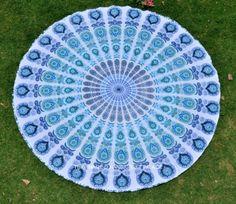Beautiful peacock mandala round roundie beach throw yoga mat, table cover online #Handmade