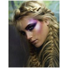 Messy French braid & mermaid makeup ! ❤ liked on Polyvore featuring hair, makeup, eyes, hairstyle and pictures