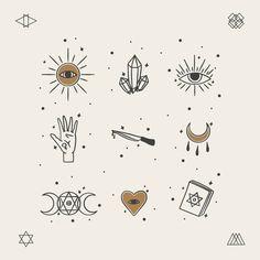 Esoteric element pack | Free Vector #Freepik #freevector #hand #hand-drawn #skull #art Boho Aesthetic, Witch Aesthetic, Small Tattoo Designs, Small Tattoos, Crystal Drawing, Doodle Art, Magic Doodle, Art Plastique, Vector Free