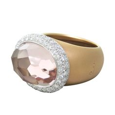 Pomellato Iceberg Gold Morganite Diamond Ring | From a unique collection of vintage more rings at http://www.1stdibs.com/jewelry/rings/more-rings/