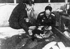 Dachau, Germany, 2 Nazi Doctors over seeing a medical experiment being performed on a prisoner immersed ice cold water. Work Camp, Medical Photos, Political Prisoners, Lest We Forget, Sad Stories, History Photos, World War Ii, Wwii