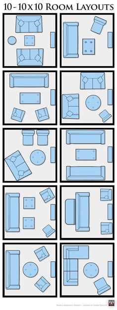 10X10 small space furniture layout ideas.