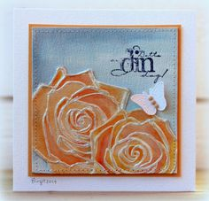 Rapport från ett skrivbord-Birgit's blog, where this card was posted. The rose stamp has been embossed, coloured & outlined with gloss gel.