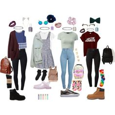 Pastel/Grunge School outfits by stellaluna899 on Polyvore featuring Acne Studios, MANGO, Monki, J Brand, Topshop, HUF, Forever 21, Timberland, Vans and Doucal's