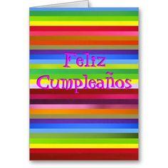 Card - Feliz Cumpleaños in meany colors.