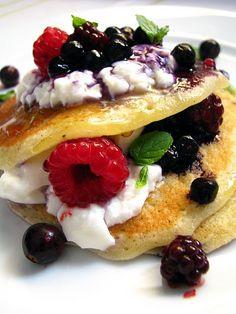 Fruit + pancakes.