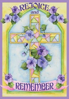 """#Rejoice & remember #easter garden flag #religious 12.5"""" x 18"""" briarwood lane, View more on the LINK: http://www.zeppy.io/product/gb/2/181940501233/"""