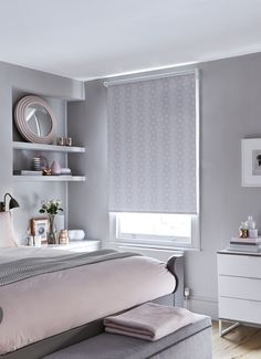 Add a soft geometric print to a pastel perfect bedroom to bring texture into your interiors. Our Sphere Blush Roller blind features a gorgeous combination of pink and grey tones which help to bring a calming and relaxing feel to your home. Roller Blinds, Calming, Pink Grey, Blush, Pastel, Interiors, Texture, Bedroom, Simple