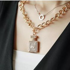 Fashion necklce Fashion metal chain , material alloy (lead free) crystal Jewelry Necklaces