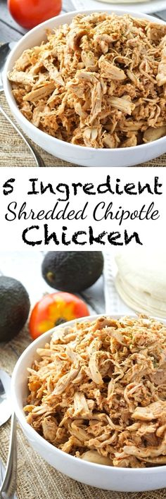 Only five ingredients are required for this flavorful (and versatile!) shredded chipotle chicken. Use it as a filling for enchiladas, quesadillas, or tacos. It also makes a perfect topper for salads or nachos!