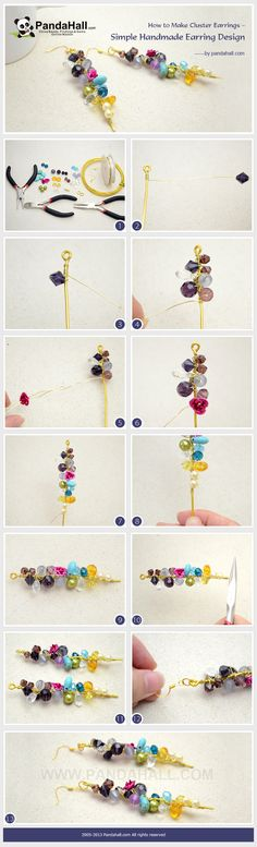 How to Make Cluster Earrings - Simple Handmade Earring Design #handmadeearrings
