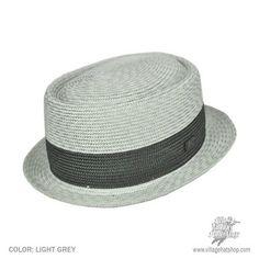 """Pork Pie Hat. Bailey Charlie Pork Pie Hat (Light Grey). 3.5"""" crown $62"""