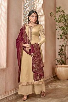 516fa54a07 Beige Full Sleeve Satin Georgette Embroidered Pakistani Salwar Suit With  Banarasi Dupatta Cataloge Number:-