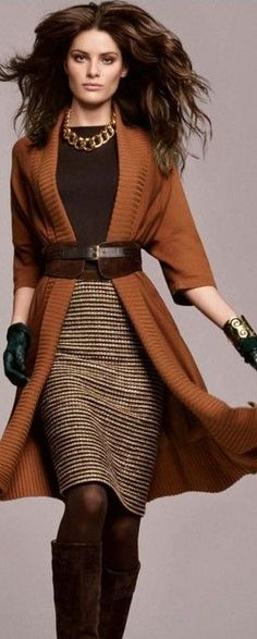 love the belt over the cardi - can do the same thing with a long scarf that you drape over your shoulders - quick update for a bit of polish... makes boomers look curvy not fat - Jones New York