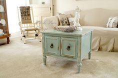 A lovely small table painted in Duck Egg Blue Chalk Paint® decorative paint by Annie Sloan | By Anne of White Lace ottage