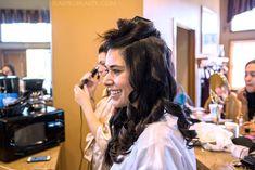 DIY Bridal Hair: See more wedding photos from this red fall wedding at Bass Lake (The Pines Resort). | Slashed Beauty