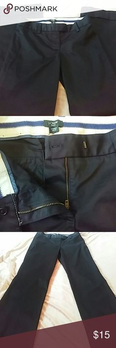 """J. Crew Cuffed Trousers Black J. Crew trousers with a cuffed flare leg. Stretch City Fit. Button/clasp and zipper closure. 5.5"""" rise. 15"""" waist. 30"""" inseam. Excellent condition! J. Crew Pants Trousers"""