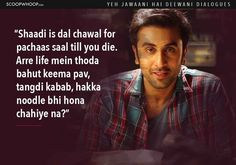 Here the list of 14 Yeh Jawaani Hai Deewani dialogues you should check out. Amazing Yeh Jawaani Hai Deewani quotes to remember. Flirting Quotes For Him, Flirting Memes, Yjhd Quotes, Funny Women Quotes, Like You Quotes, Movie Dialogues, Message Mom, Bollywood Quotes, Zindagi Quotes