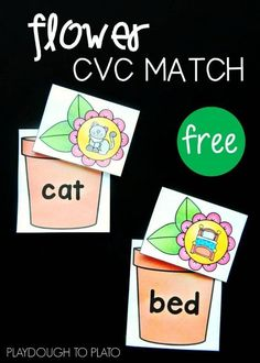 Flower CVC Match - Playdough To Plato - Fun word family activity for spring! The flower CVC match would be a great literacy center or word work activity for kindergarten or first grade. Kindergarten Centers, Kindergarten Reading, Teaching Reading, Literacy Centers, Reading Centers, Teaching Ideas, Learning, Reading Skills, Guided Reading