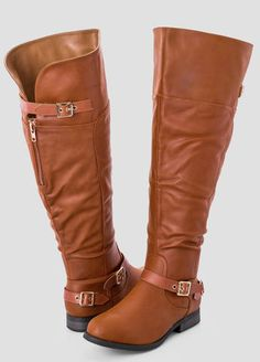 Brinley Co. Wide-Calf Knee-High Studded Riding Boots with Red ...