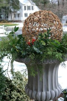 Idea for the front porch planters ball, outdoor christmas decorations, christmas holidays, planter idea, white lights, christmas lanterns, christma holiday, christmas planters, front porches
