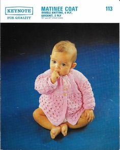 Instant download for knitting pattern for baby matinee coat. It can be knitted in 3 ply, 4 ply, Quick Knit or Double Knit yarn. Instructions are