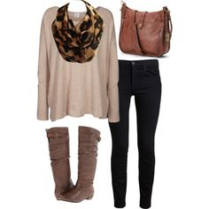 A fashion look from July 2014 featuring over sized sweaters, denim jeans and steve madden boots. Browse and shop related looks. Infinity Scarf Outfits, Cheetah Scarf, Streetwear Brands, Black Jeans, Luxury Fashion, Casual, Polyvore, Pants, Shopping