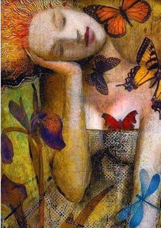 Fantasy Portraits, Fantasy Paintings, Epic Art, Amazing Art, Painting Gallery, Arte Pop, Butterfly Art, Surreal Art, Portrait Art