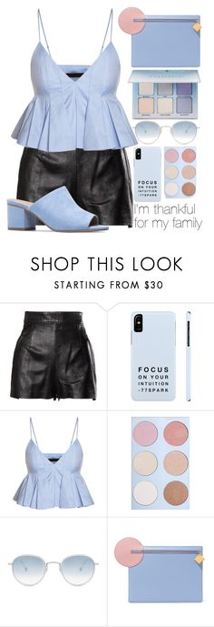 """☯"" by rainharrybow ❤ liked on Polyvore featuring Moschino, Garrett Leight, Roksanda, StreetStyle, Blue, lightblue and thanksgiving"