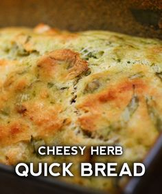 Cheesy herb quick bread – honestly, it tastes like it came from a bakery! I can&… Cheesy herb quick bread – honestly, it tastes like it came from a bakery! I can't believe how easy it is to throw together… Onion Bread, Herb Bread, Bread Bun, Bread Rolls, Easy Bread, Quick Bread Recipes, Bread Machine Recipes, Side Dish Recipes, Cooking Recipes