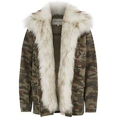 Woven fabric Camo print Faux fur trim Chest zip pocket Front patch pockets with flaps Long sleeve Our model wears a UK 8 and is tall Camouflage Jacket, Camo Jacket, Army Camouflage, Khaki Jacket, Brown Jacket, Minimal Wardrobe, Khaki Green, Army Green, Winter Coats Women