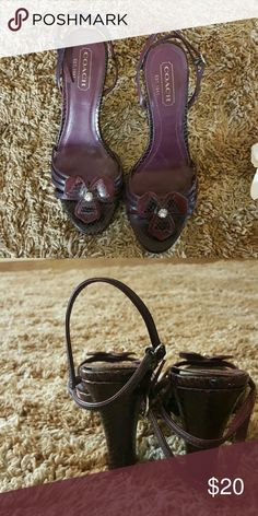 Very cute dressy heeled sandals. Putple leather n snake skin embossed Coach dress shoes. Coach Shoes Heels