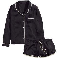 H&M Satin pyjamas ($15) ❤ liked on Polyvore featuring intimates, sleepwear, pajamas, lingerie, pyjama, black, satin sleepwear, satin short pajamas, long sleeve sleepwear and satin pjs