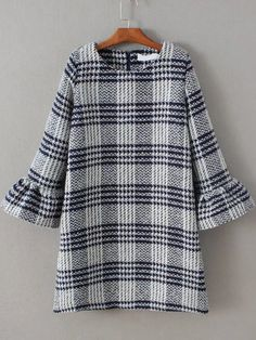 Shop Navy Plaid Bell Sleeve Zipper Back Dress online. SheIn offers Navy Plaid Bell Sleeve Zipper Back Dress & more to fit your fashionable needs.