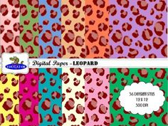 Digital Paper - Leopard. 36 different styles of leopard pattern backgrounds in assorted colors. High quality digital papers for your creations. 12 X 12, 300 dpi. JPEG file format. Personal or commercial use. if you love leopards, you will love these leopard print papers!