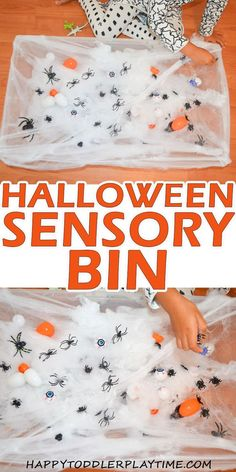 Halloween Sensory Bin - HAPPY TODDLER PLAYTIME If the keys to a great Halloween sensory bin is part creepy and part fun the one has it all! Creepy eggs filled with spiders and fun spider web! Primer Halloween, Theme Halloween, Halloween Theme Preschool, Halloween Favors, Halloween Activities For Toddlers, Halloween Crafts For Kids, Toddler Halloween Crafts, Easy Halloween, Autumn Crafts For Kids
