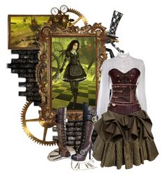 """(Alice:The Madness Returns) Steamdress"" by kristent981 ❤ liked on Polyvore featuring Ellie Shoes, Dolce&Gabbana, women's clothing, women's fashion, women, female, woman, misses and juniors"