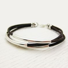 Antique Brown Leather & Sterling Silver Bracelet / Rustic Comfort Natural Coffee Colored / Nature Woodland Inspired / Unisex