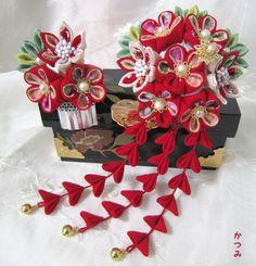 katumi made *手作りしましょう*つまみ細工の簪(かんざし)下がり付き、赤色の簪色々