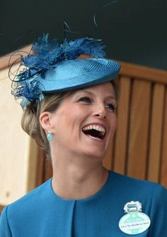 HRH Sophie, Countess of Wessex at Royal Ascot 2013 Day 1 wearing a Jane Taylor bespoke-dyed cocktail hat shape trimmed with lace.