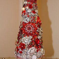 Jeweled Christmas Tree | Etsy Jeweled Christmas Trees, Cone Christmas Trees, Glass Christmas Tree, Antique Christmas, Christmas Themes, Christmas Deco, Vintage Jewelry Crafts, Vintage Costume Jewelry, Antique Frames