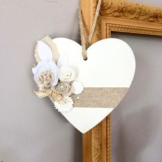 decoracion negocio Wooden heart, decorated with fabric flowers and a linen Ribbon Heart Decorations, Valentines Day Decorations, Valentine Day Crafts, Holiday Crafts, Heart Diy, Heart Crafts, Wooden Hearts Crafts, Valentines Bricolage, Hanging Hearts