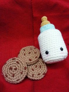 Milk Bottle       What you'll need (Materials):-     Worsted-weight yarn, Blue, White & Yellow colour  F/5 3.75mm crochet hook             ...