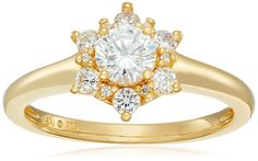 Sterling Silver with Yellow Gold Plating Cubic Zirconia Flower Ring, Size 7 * Want to know more, click on the image.